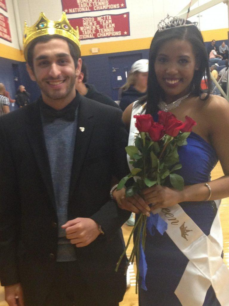 "Homecoming King ""Fez"" Alghussein with Homecoming Queen  Victoria Johnson after victory. Photo by Dalise DeVos."