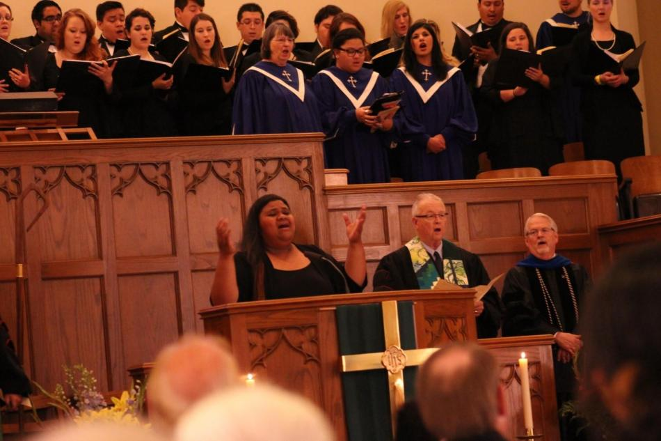 Aimee Bozarth, Dr. Robert Holloway and Dr. Allen Henderson sing You Are My All In All during Sunday's 125th anniversary celebration. Photo by Hannah Onder.