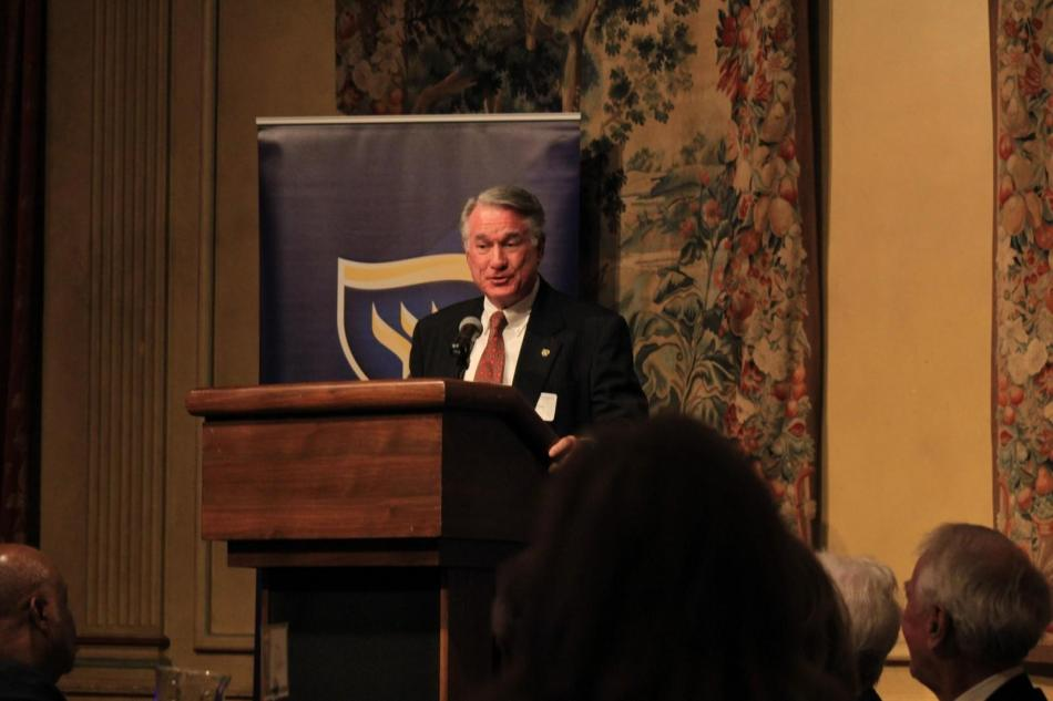 Winner of theWesleyan Service Award,  Charles Willett '66 spoke on his love for the university at the Alumni Medal Dinner on Friday. Photo by Shaydi Paramore