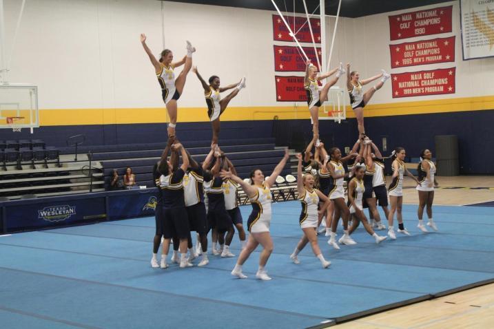 Texas Wesleyan's cheerleaders perform at Midnight Madness on Saturday. Photo by Hannah Onder