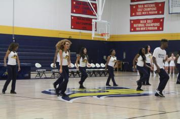 """Texas Wesleyan's dance team performs to """"Can't Stop the Feeling"""" by Justin Timberlake at Midnight Madness. Photo by Hannah Onder"""