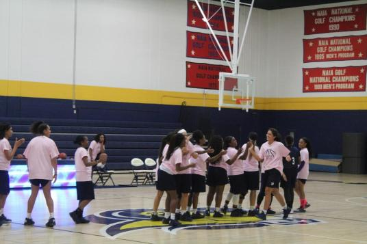 The Texas Wesleyan Women's Basketball team lineup for the 2016-2017 season is introduced at Midnight Madness. Photo by Hannah