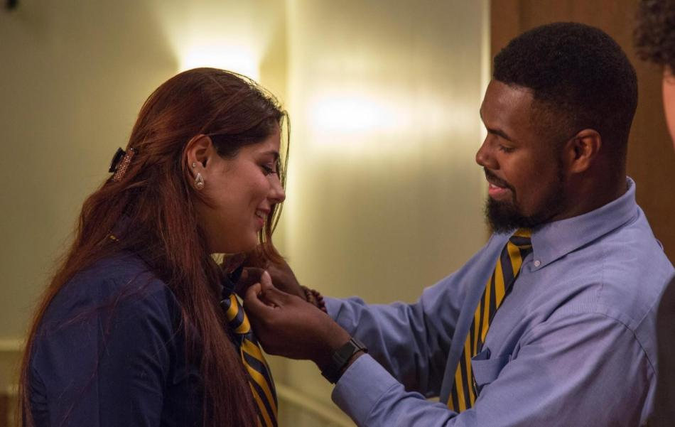 Jeremy Hunt pins new Guardian of Golden Shears member, Fauz Saheb, at the Spring 2015 robing ceremony.  Photo courtesy of Texas Wesleyan Marketing and Communication/ Chuck Greeson.