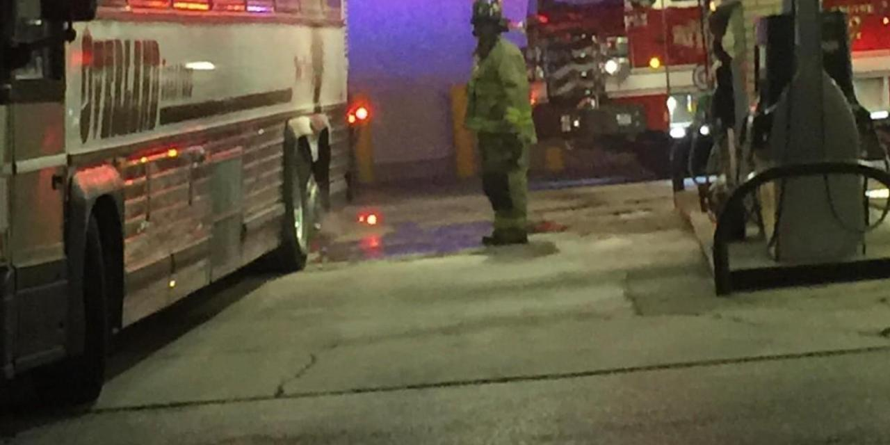 University fan bus burst into flames