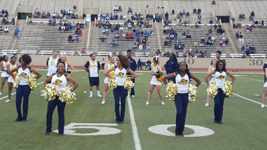 In support of the cheerleaders, there were the Gold Line Dancers, who performed at hafltime. Photo by Matt Smith.