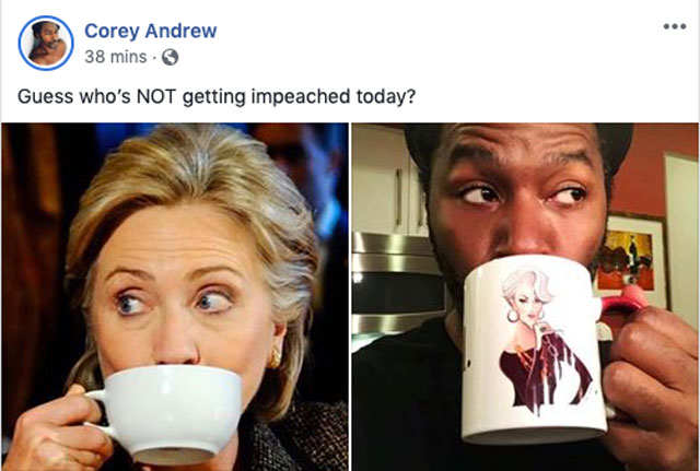 Photo with Hillary Clinton sipping tea alongside my Instinct Magazine colleague, Corey Andrew