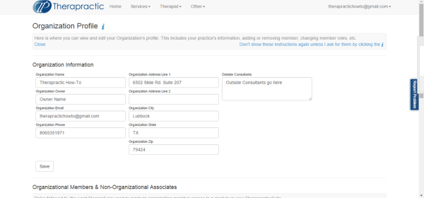 Screenshot 2 - Enter Organization's Information
