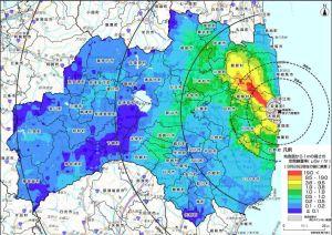 文科省の航空機モニタリングによる空間線量マップ(8月28日現在)