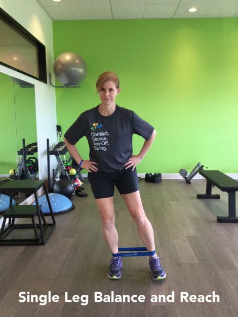 single leg balance and reach resistance band exercise