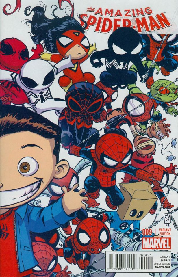 Amazing Spider-Man Vol 3 #9 Cover B Variant Skottie Young Interlocking Baby