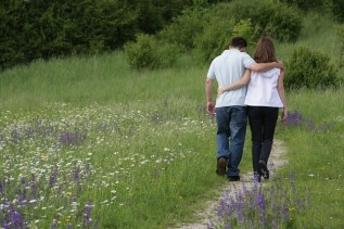 couple walking lavender