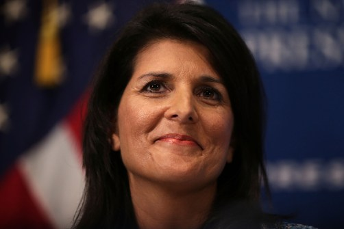 "WASHINGTON, DC - SEPTEMBER 02: South Carolina Governor Nikki Haley addresses a Newsmaker Luncheon at the National Press Club September 2, 2015 in Washington, DC. Governor Haley spoke on ""Lessons from the New South."" (Photo by Alex Wong/Getty Images)"