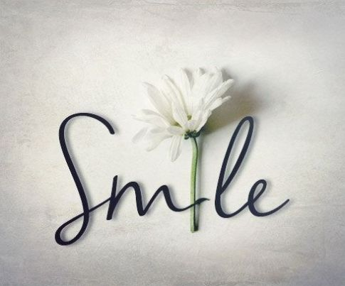 smile with white flower