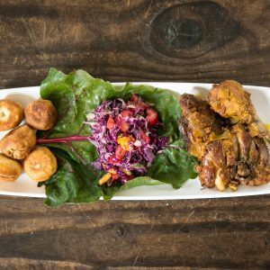 Festival, Island Salad and Brown Stew Chicken