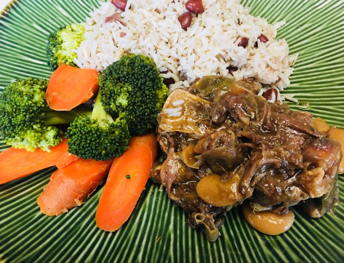 Oxtail, Coconut Rice and Peas and Island Salad