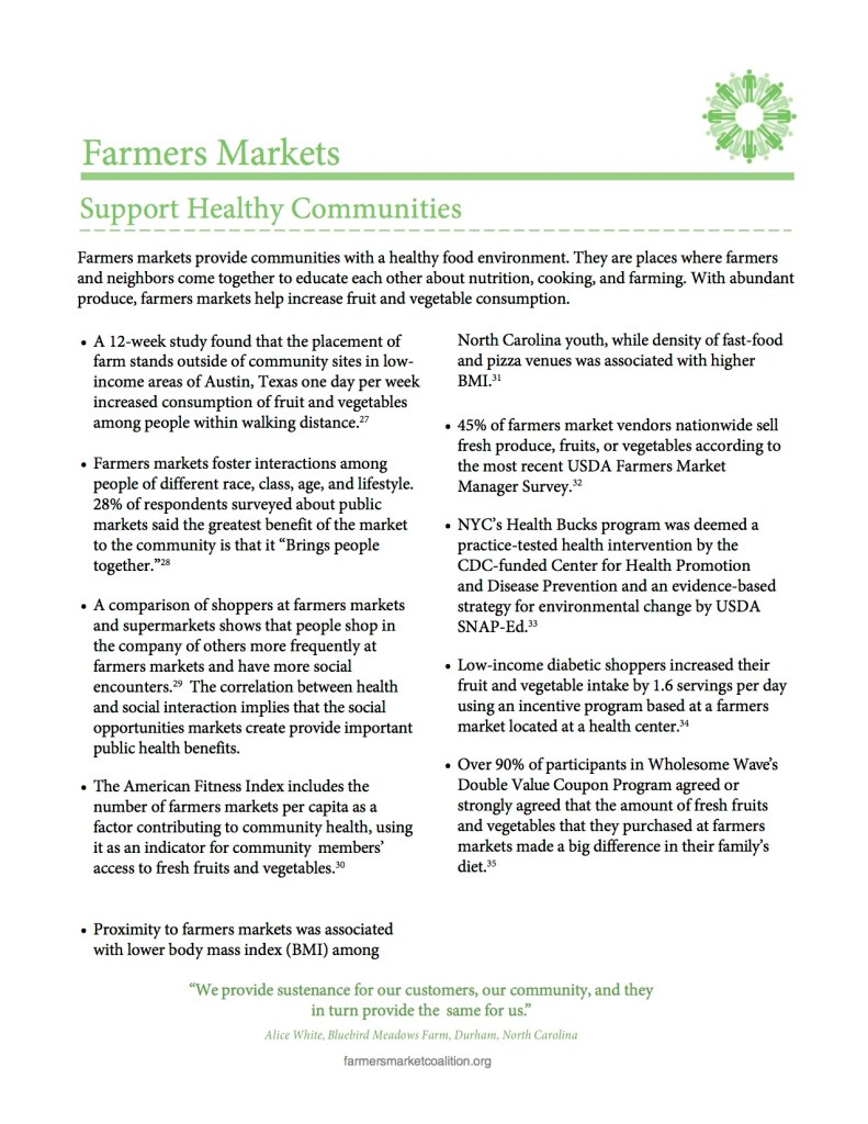 Farmers Markets Support Healthy Communities