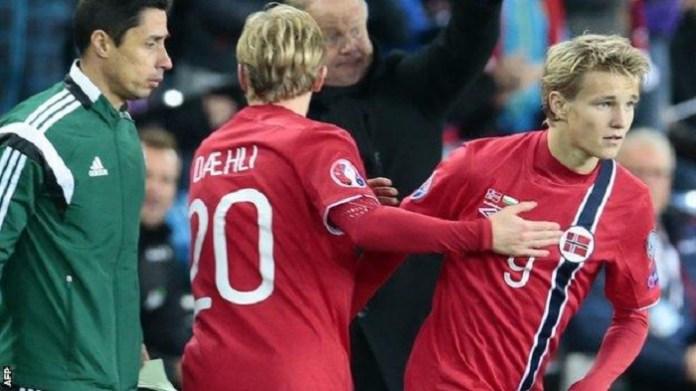 Odegaard Norway debut in the 2-1 win over Bulgaria