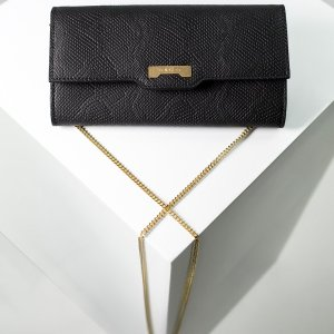 Python black wallet made of luxury vegan leather