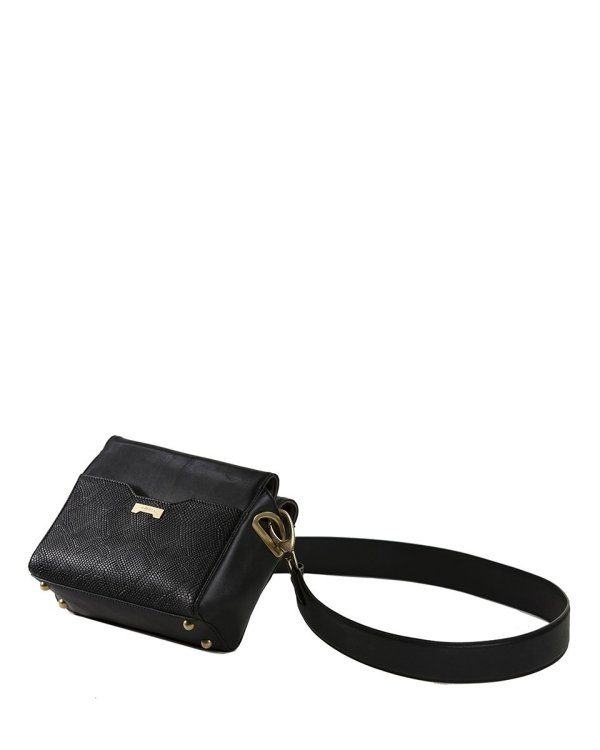 Crossbody pouch in python black sustainable vegan leather