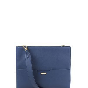 The perfect workbag for women in dark blue ecofriendly vegan leather