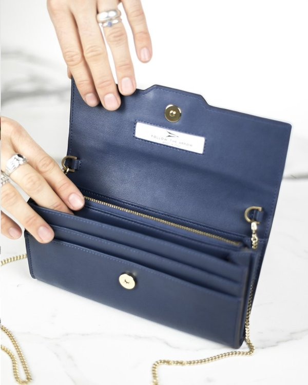 Organized  navy blue Minibag wallet in ecofriendly vegan leather
