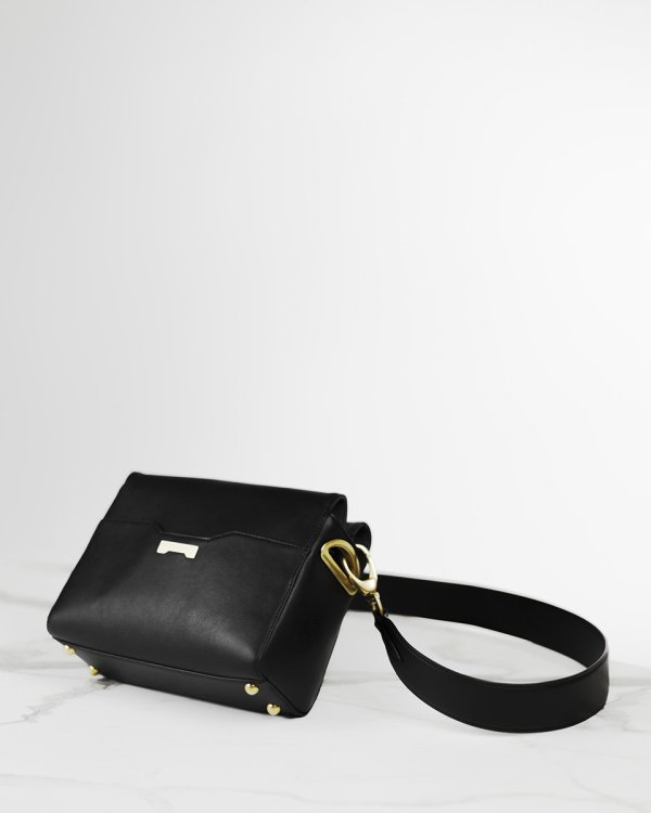 Pouch in black luxury vegan leather