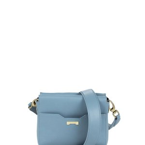 Crossbody pouch in light blue sustainable vegan leather