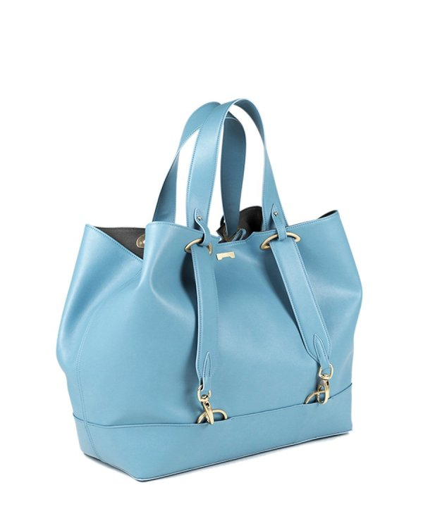 Pastel blue sustainable vegan leather luxury handbag