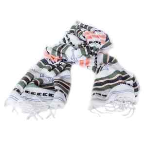 White Striped Cotton Scarf by Sabahar - summer scarf accessories