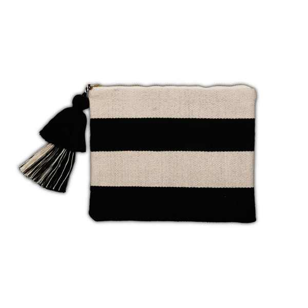 Black and White Cotton Pouch with Horizontal Stripes from Peru front view