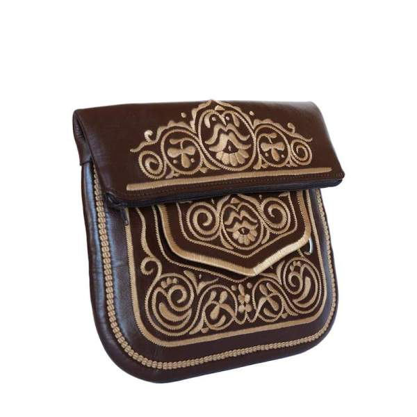 limited edition front/side view of brown and beige embroidered ABURY Leather Berber Shoulder Bag