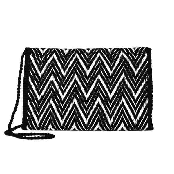 back view Black and White Zig Zag Cotton Clutch