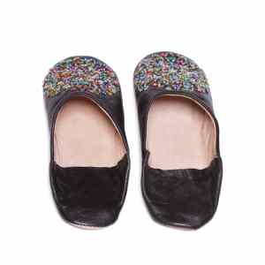 back side black sequinned abury leather babouche leather slippers