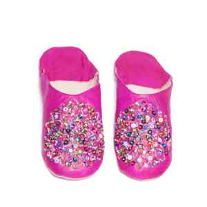 front side pink sequinned abury leather babouche leather slippers