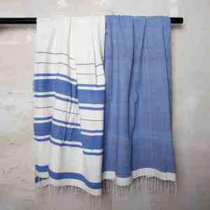 Blue Cotton Beach Towels handmade quality from Ethiopia
