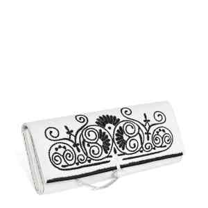 side view white and black embroidered abury clutch bag
