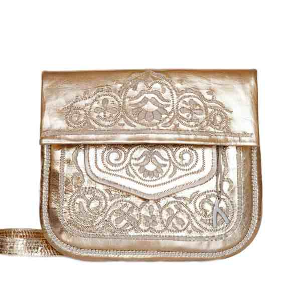 front view of gold embroidered ABURY Leather Berber Shoulder Bag