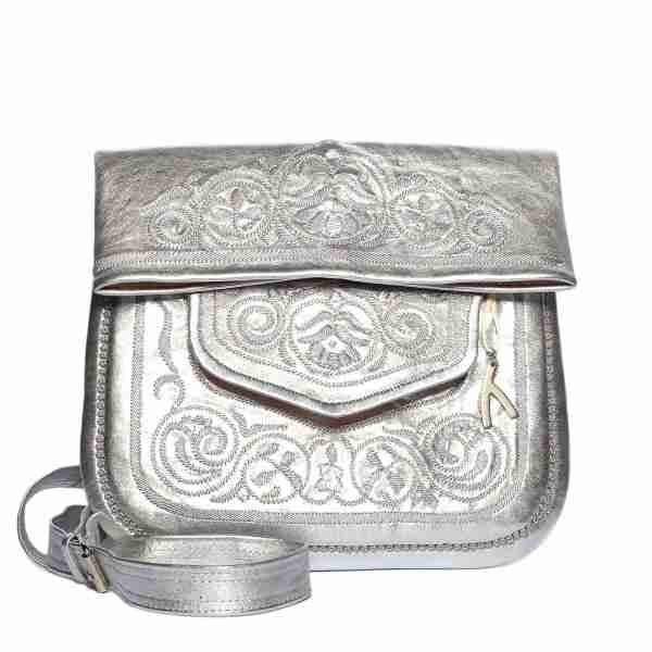front view of silver embroidered ABURY Leather Berber Shoulder Bag
