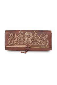 Brown and Beige Leather Clutch Bag - Clutch Bags - ABURY Collection