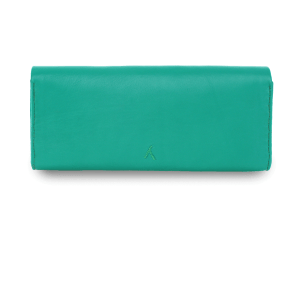 handmade Mint Green Leather Clutch Bag product back shot