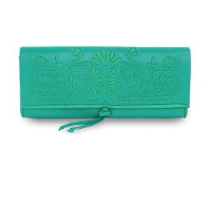 handmade Mint Green Leather Clutch Bag front view product shot