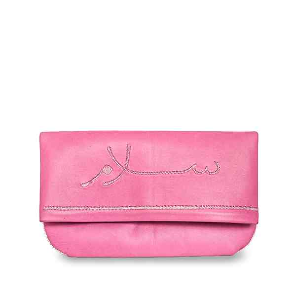 front view pink leather abury clutch bag with salam embroidery