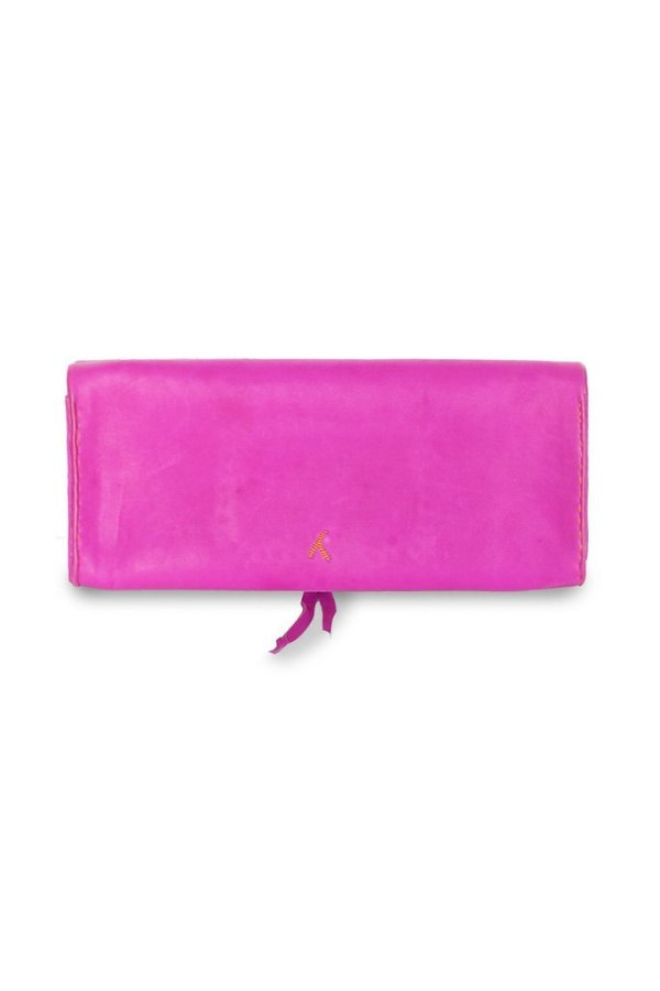 back view handmade Pink and Orange Leather Clutch Bag | ABURY Collection - Clutch Bags