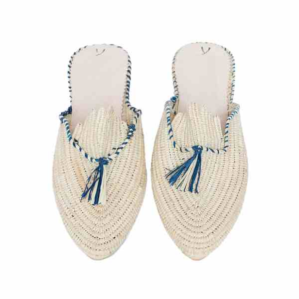 front side abury beige and blue raffia summer slippers with tassel