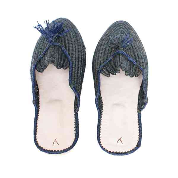 back side abury dark green raffia summer slippers with tassel
