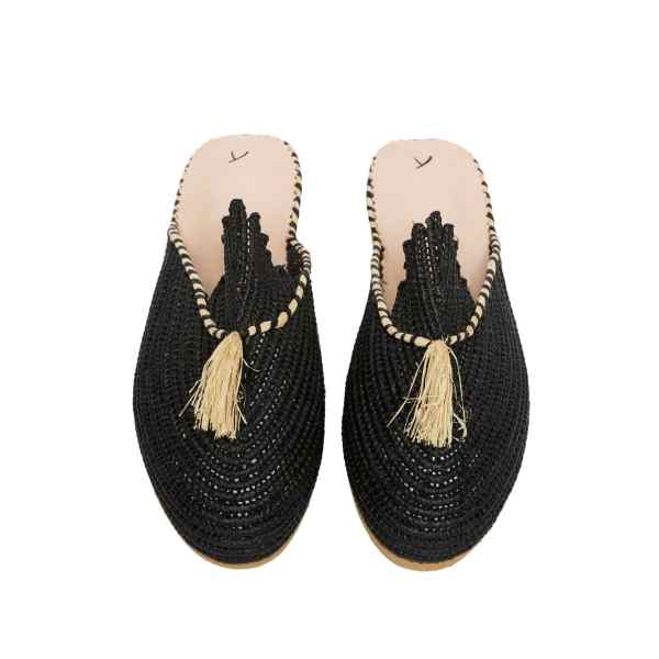 front side abury black raffia summer slippers with tassel