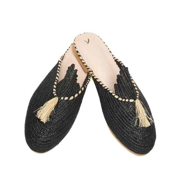 side view abury black raffia summer slippers with tassel
