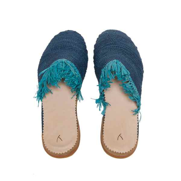 back side abury blue raffia summer slippers with fringes
