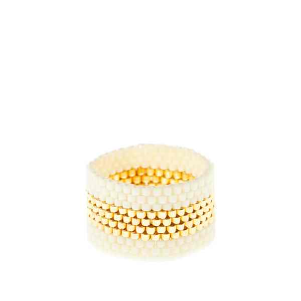 Woven Ring by Sidai Designs - Gold and White colour jewellery
