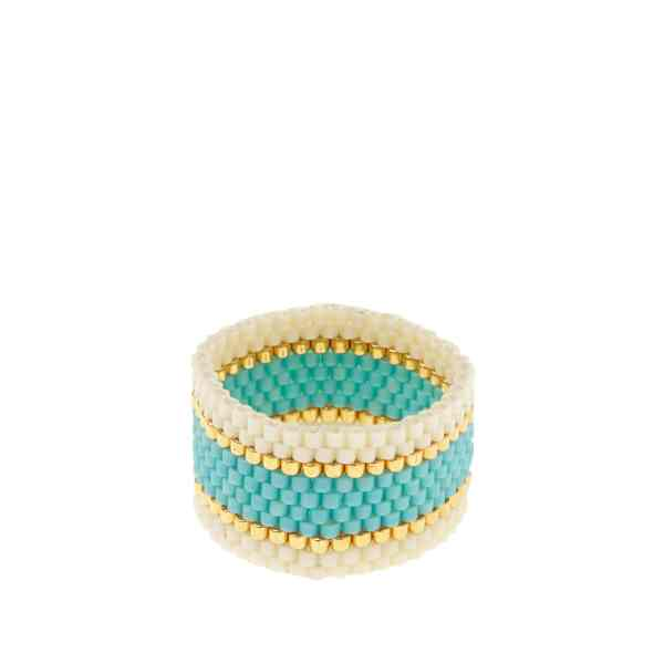 sidai designs woven ring turquoise and white colour jewellery